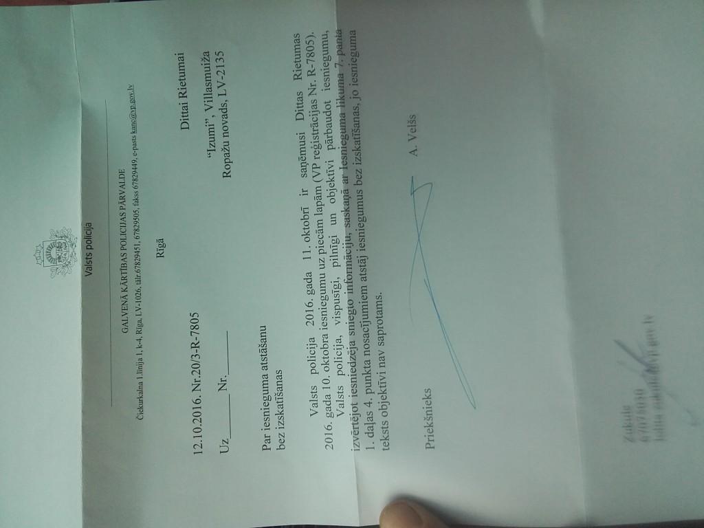 Valsts Policija atbild Dittai uz pārsūdzību